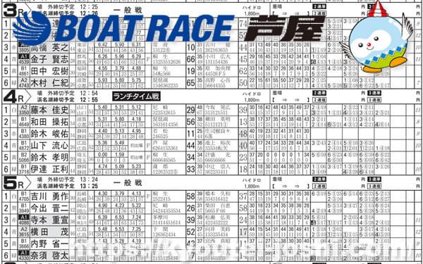 ボートレース芦屋番組表